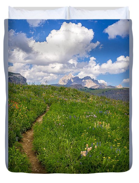 Duvet Cover featuring the photograph Grand Teton Scenic Hiking Path by Serge Skiba