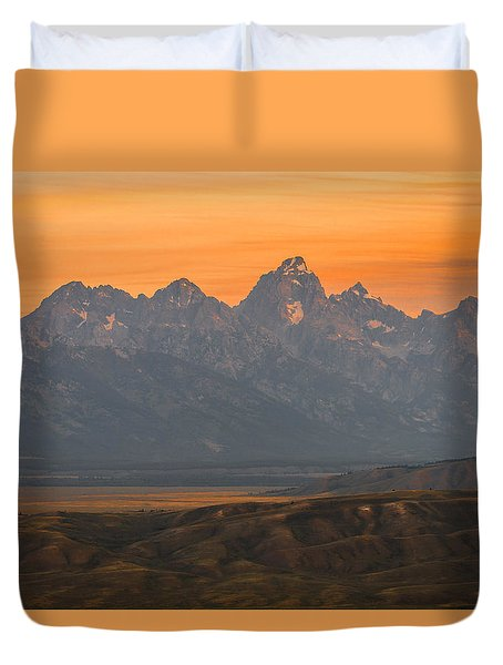 Duvet Cover featuring the photograph Grand Teton Sunset by Serge Skiba