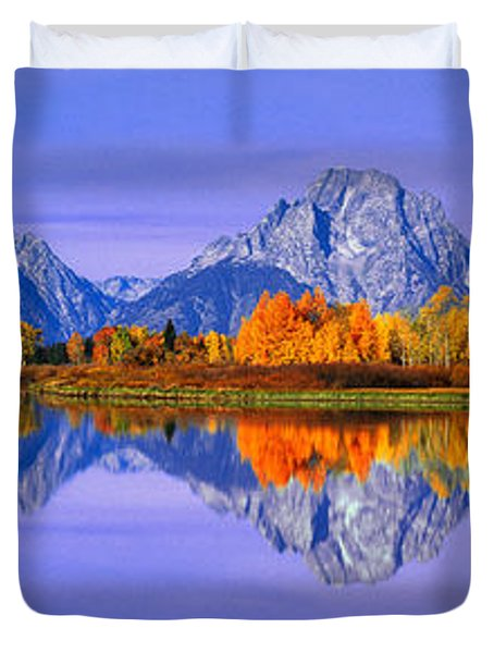 Grand Tetons And Reflection In Grand Duvet Cover