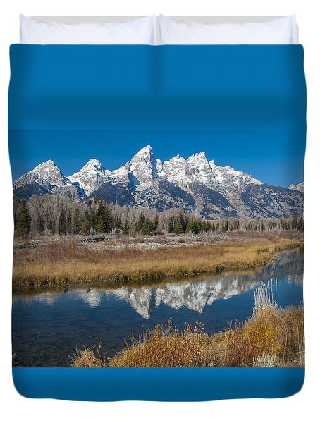 Duvet Cover featuring the photograph Grand Tetons by Gary Lengyel