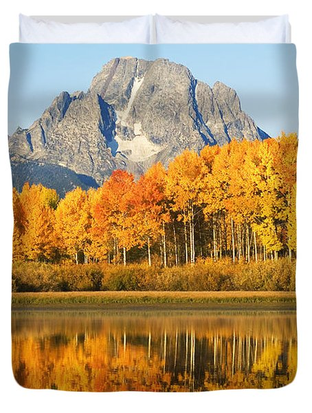 Grand Tetons In Autumn 2 Duvet Cover by Ron Dahlquist - Printscapes