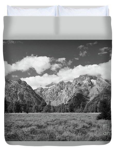 Grand Tetons In Black And White Duvet Cover