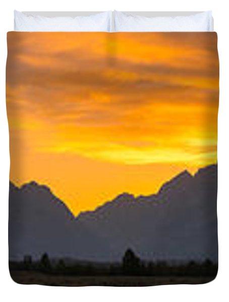 Grand Tetons Sunset Duvet Cover