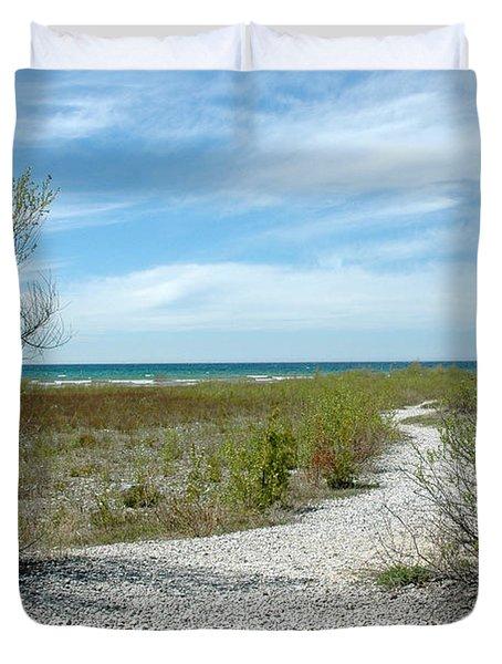 Duvet Cover featuring the photograph Grand Traverse Bay Path by LeeAnn McLaneGoetz McLaneGoetzStudioLLCcom