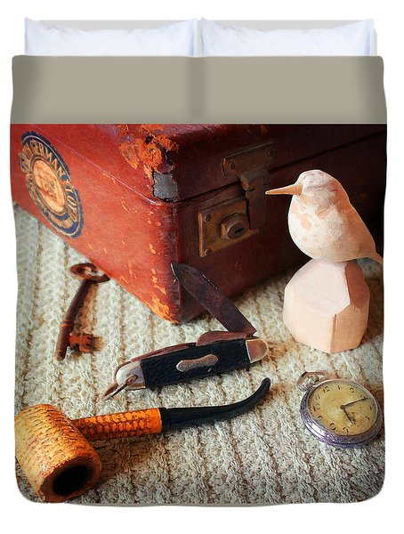 Duvet Cover featuring the photograph Grandad's Valise by Timothy Bulone