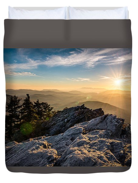 Grandfather Mountain Sunset Blue Ridge Parkway Western Nc Duvet Cover