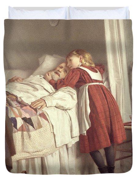Grandfathers Little Nurse Duvet Cover by James Hayllar
