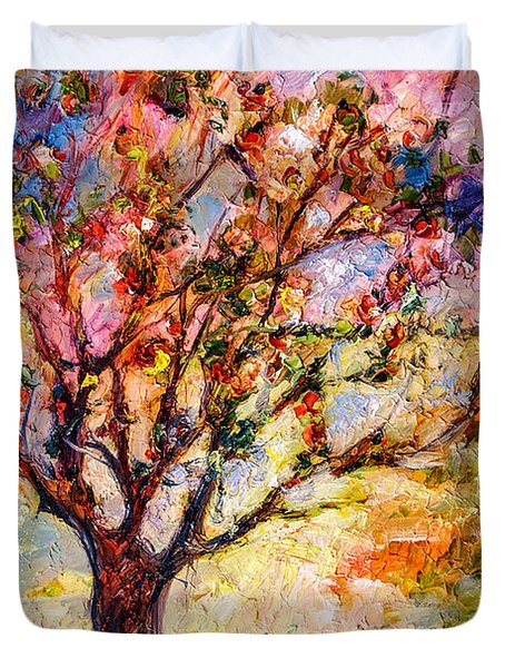 Grandmas Apple Tree Oil Painting Duvet Cover