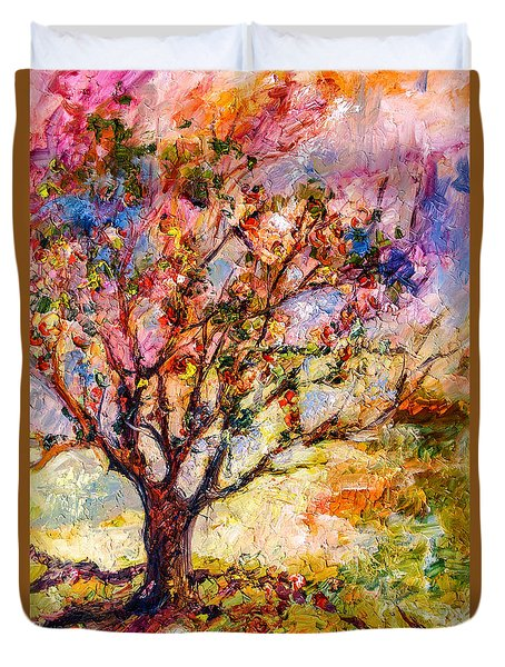 Duvet Cover featuring the painting Grandmas Apple Tree Oil Painting by Ginette Callaway