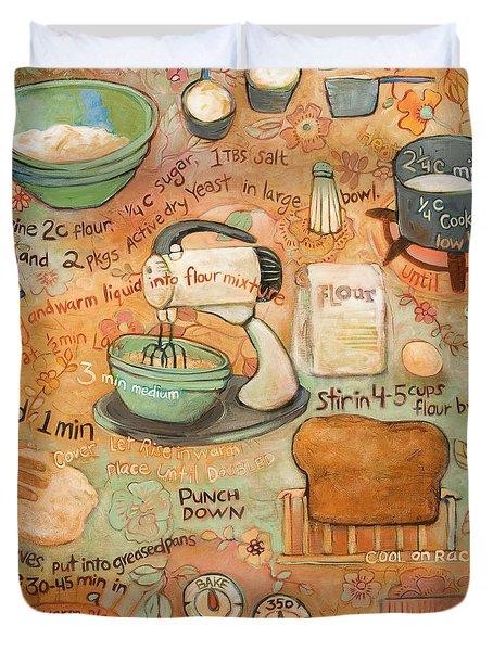 Grandmas Bread Recipe Duvet Cover by Jen Norton