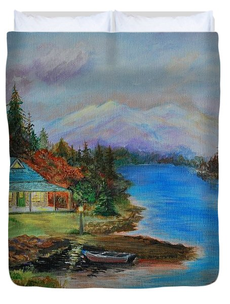 Duvet Cover featuring the painting Grandmas Cabin by Leslie Allen