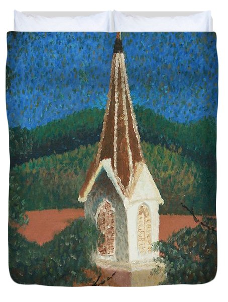 Duvet Cover featuring the painting Grandmas Church by Jacqueline Athmann