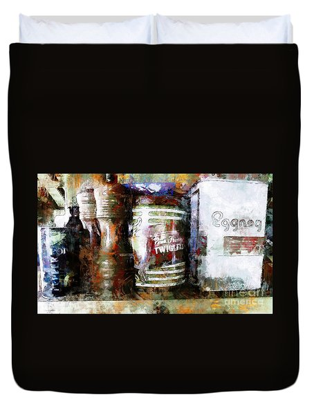 Duvet Cover featuring the photograph Grandma's Kitchen Tins by Claire Bull