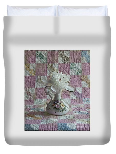 Grandmother's Vase And Her Son's Quilt Duvet Cover