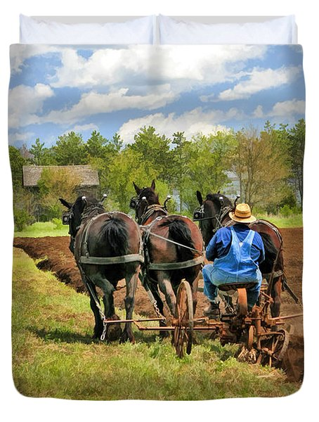 Duvet Cover featuring the painting Grandpa And His Team Of Horses At Old World Wisconsin by Christopher Arndt