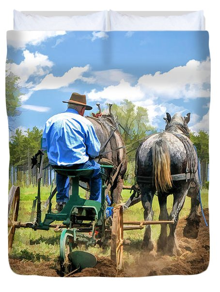 Duvet Cover featuring the painting Grandpa At The Plow At Old World Wisconsin by Christopher Arndt