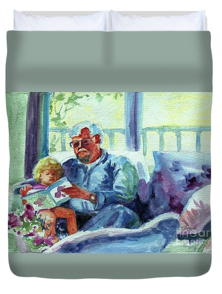 Duvet Cover featuring the painting Grandpa Reading by Kathy Braud