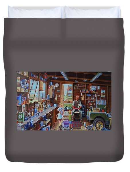 Grandpa's Workshop. Duvet Cover