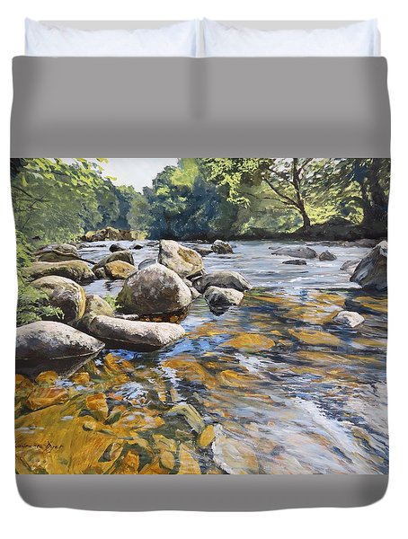 Duvet Cover featuring the painting Granite Boulders East Okement River by Lawrence Dyer