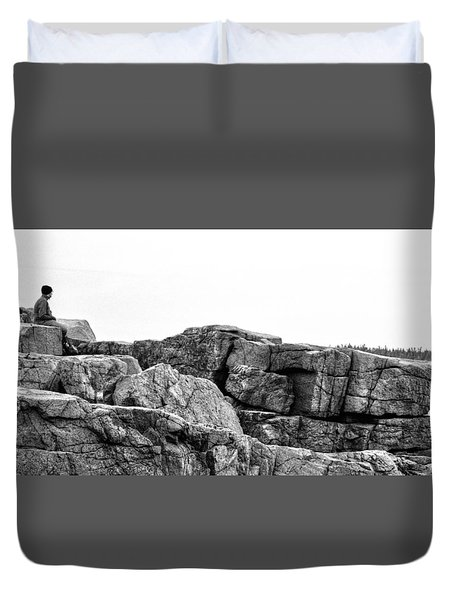 Granite Cliffs At Thunder Hole - Acadia - Maine Duvet Cover