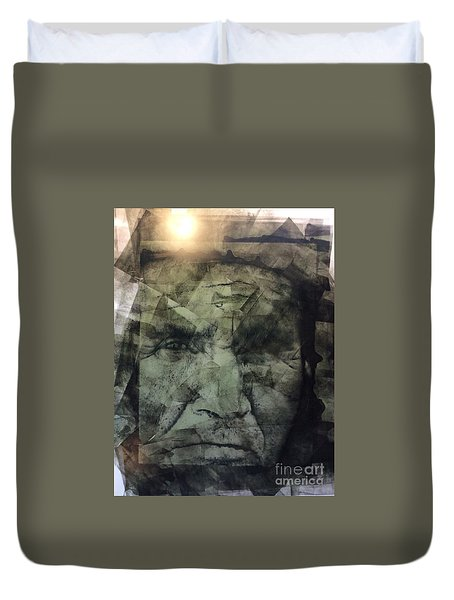 Granite Faces Of Men And Mountains Duvet Cover