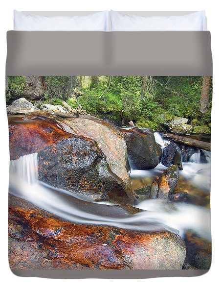 Duvet Cover featuring the photograph Granite Falls by Gary Lengyel