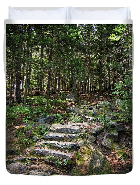 Granite Steps, Camden Hills State Park, Camden, Maine -43933 Duvet Cover