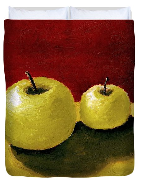 Granny Smith Apples Duvet Cover by Michelle Calkins