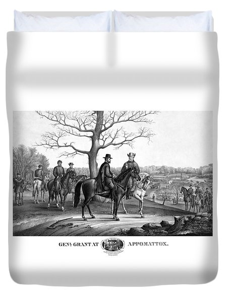 Duvet Cover featuring the mixed media Grant And Lee At Appomattox by War Is Hell Store