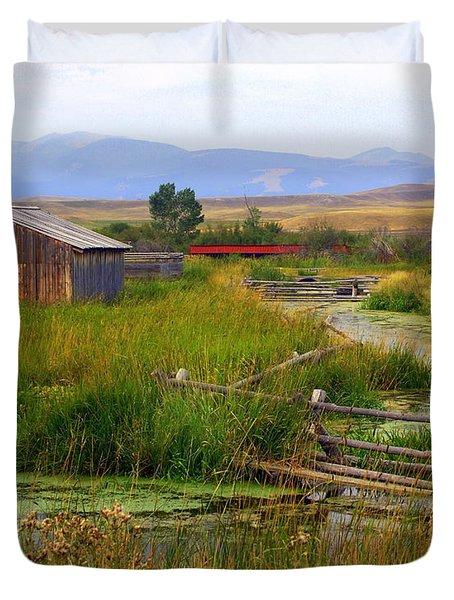 Grant Khors Ranch Deer Lodge  Mt Duvet Cover by Marty Koch