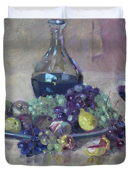 Grape And Wine Duvet Cover