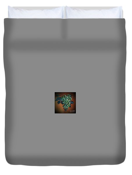 Duvet Cover featuring the ceramic art Grape Cluster 1 by Andrew Drozdowicz