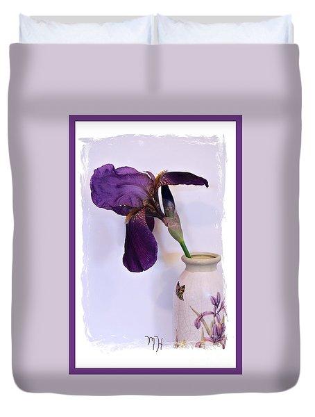 Grape Iris In A Vase Duvet Cover
