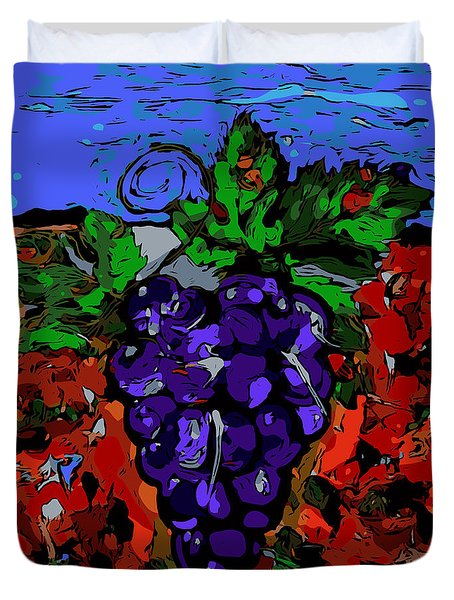 Grape Jazz Digital Duvet Cover