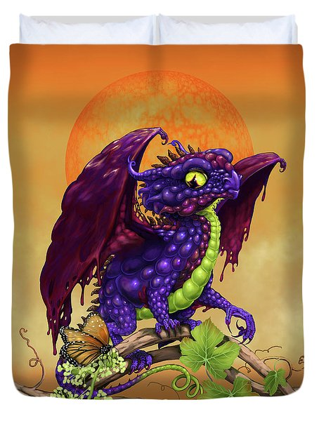 Duvet Cover featuring the digital art Grape Jelly Dragon by Stanley Morrison