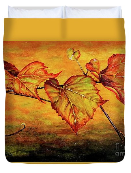 Duvet Cover featuring the painting Grape Vine by Judy Kirouac