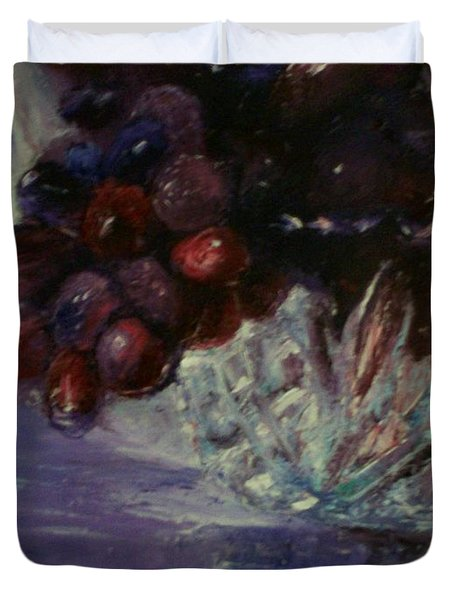 Grapes And Glass Duvet Cover