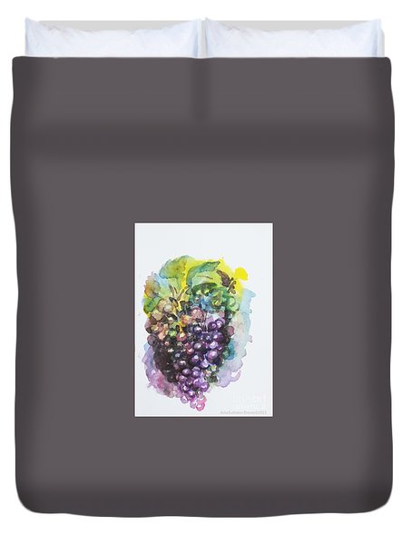 Duvet Cover featuring the painting Grapes by Asha Sudhaker Shenoy