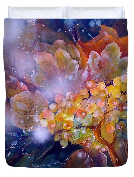 Grapes In A Misty Autumn Night Duvet Cover