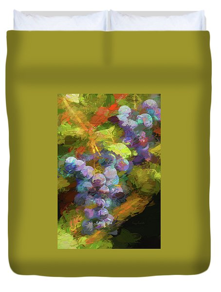 Grapes In Abstract Duvet Cover
