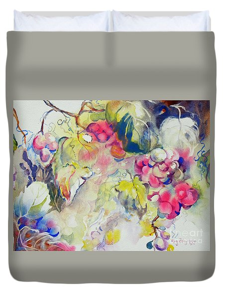 Grapes In Season Duvet Cover by Mary Haley-Rocks