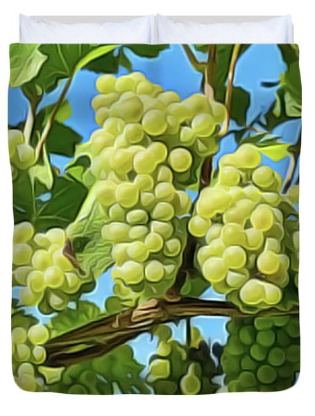 Duvet Cover featuring the painting Grapes Not Wrath by Harry Warrick