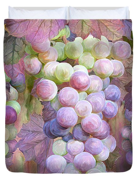 Duvet Cover featuring the mixed media Grapes Of Many Colors by Carol Cavalaris