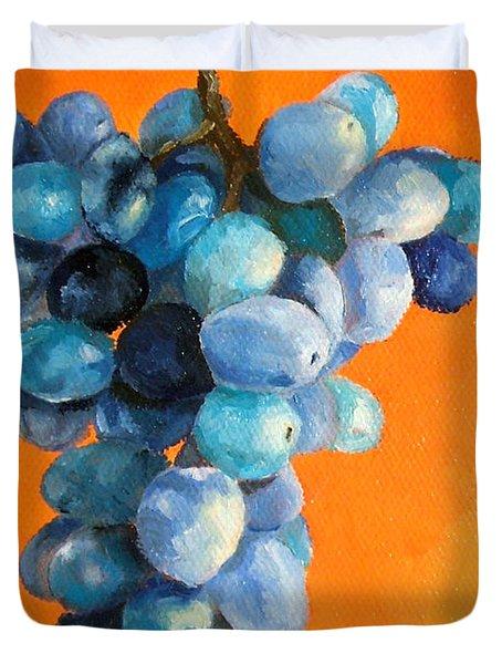Grapes On Orange Duvet Cover by Diane Kraudelt