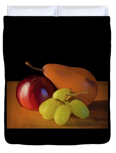 Grapes Plum And Pear 01 Duvet Cover by Wally Hampton