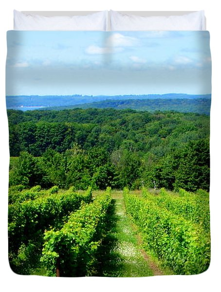 Grapevines On Old Mission Peninsula - Traverse City Michigan Duvet Cover by Michelle Calkins