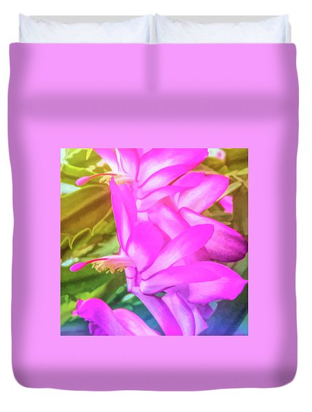 Duvet Cover featuring the photograph Graphic Rainbow Christmas Cactus Flower by Aimee L Maher Photography and Art Visit ALMGallerydotcom
