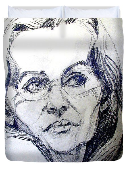Graphite Portrait Sketch Of A Woman With Glasses Duvet Cover