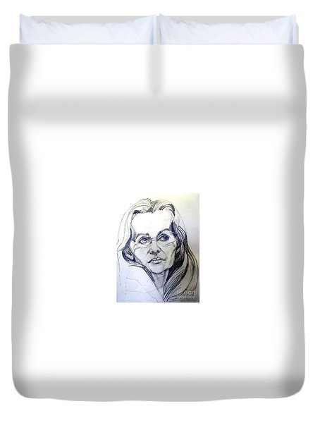 Duvet Cover featuring the drawing Graphite Portrait Sketch Of A Woman With Glasses by Greta Corens