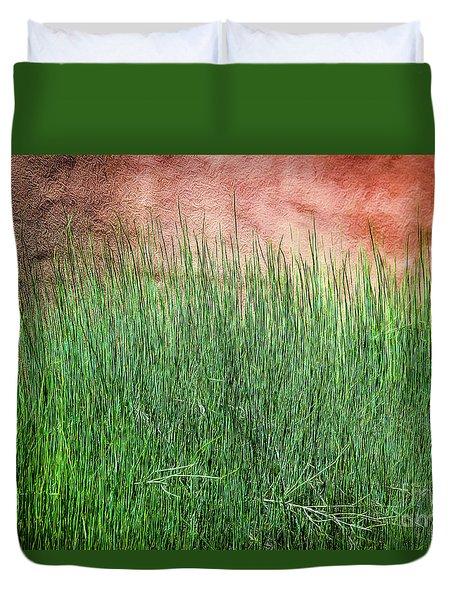 Grass Against A Wall Duvet Cover